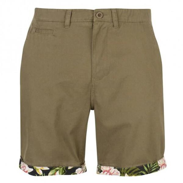 Мужские хлопковые шорты хаки Pierre Cardin AOP Turn Up под ремень с подворотом оригинал