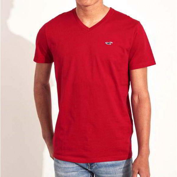 Красная хлопковая футболка с вырезом Hollister Must-Have V-neck