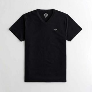 Черная хлопковая футболка с мысом Hollister Must-Have V-neck
