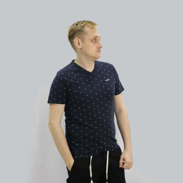 Синяя хлопковая футболка с мысом Hollister Must-Have V-neck