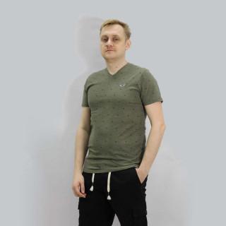 Хаки хлопковая футболка с мысом Hollister Must-Have V-neck