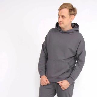 Темно-серый трикотажный костюм оверсайз с худи Shopchik