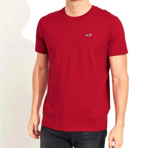 Красная хлопковая футболка Hollister Must-Have