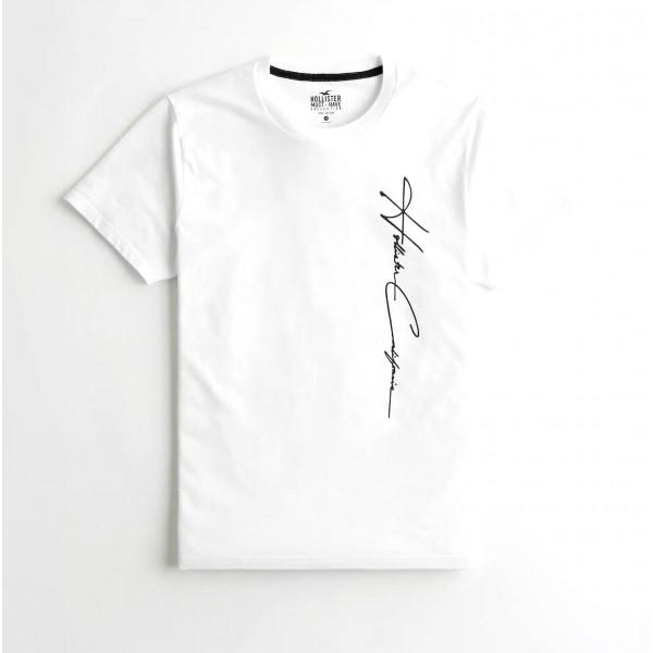 Белая хлопковая футболка Hollister Graphic Tee