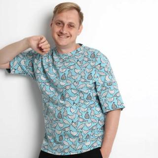 Хлопковая оверсайз футболка с курочками Shopchik