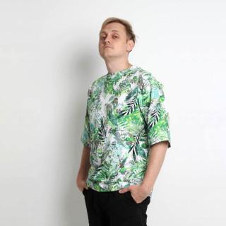 Хлопковая оверсайз плотная футболка принтованная Shopchik