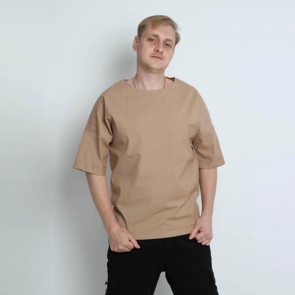 Однотонная котоновая оверсайз футболка бежевая Shopchik