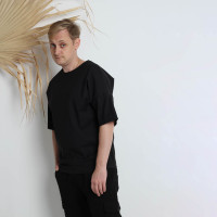 Однотонная котоновая оверсайз футболка черная Shopchik