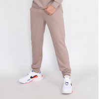 Мужские бежевые трикотажные штаны на манжетах Shopchik