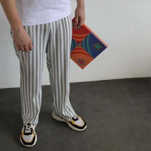 Летние льняные свободные брюки бело-черные