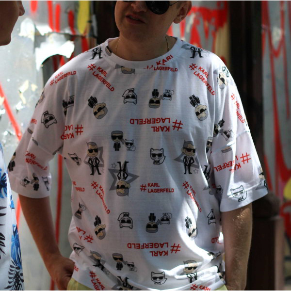 Хлопковая белая оверсайз футболка Karl Shopchik