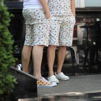 Светлые хлопковые шорты с рисунком собак Shopchik