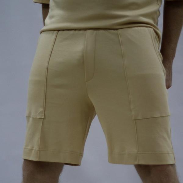 Бежевые широкие хлопковые шорты Shopchik