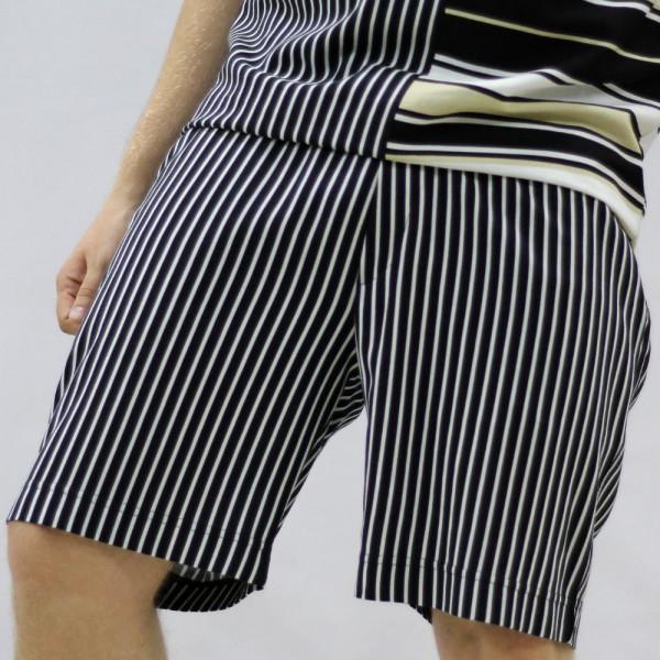 Полосатые широкие льняные шорты Shopchik