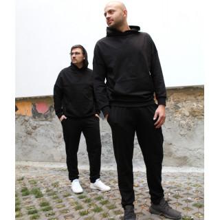 Черный трикотажный костюм c оверсайз худи Shopchik