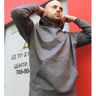 Серый костюм в клетку c оверсайз худи и прямыми штанами Shopchik