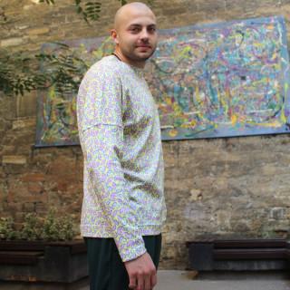Хлопковая футболка с длинным рукавом принт Shopchik